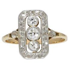 1930s Diamond 18 Karat Yellow White Gold Art Deco Rectangular Ring