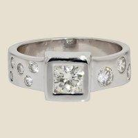 Modernist Diamonds 18 Karat White Gold Ring