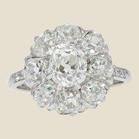 French 19th Century 18 Karat White Gold Diamonds Cluster Ring