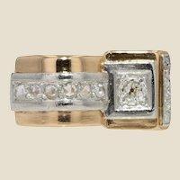 French 1970s Asymmetrical Diamond 18 Karat Rose Gold Tank Ring