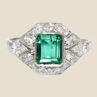 1950s Art Deco Style Emerald Diamonds 18 Karat White Gold Ring