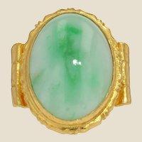 20th Century 15 Carat Jade Jadeite 18 Karat Yellow Gold Ring