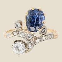 19th Century Sapphire Diamonds 18 Karat Yellow Gold Platinum Duchess Ring