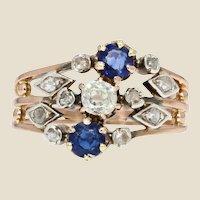 19th Century Sapphire Diamond 18 Karat Rose Gold 3 Rings Ring