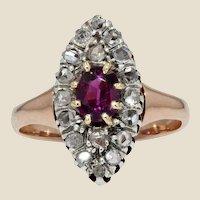 19th Century Garnet Diamonds 18 Karat Rose Gold Marquise Ring