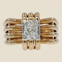 French 1940s Diamond 18 Karat Yellow Gold Platinum Knot Tank Ring