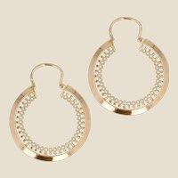 French 1960s 18 Karat Yellow Gold Openwork Hoop Earrings