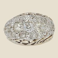 French 1950s Diamonds Platinium 18 Karat White Gold Retro Ring