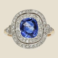 20th Century Sapphire Double Row Diamonds 18 Karat Yellow Gold Ring