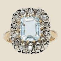 French 19th Century Aquamarine Diamonds 18 Karat Yellow Gold Ring