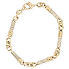 Modern 18 Karat Yellow and White Gold Sticks Curb Bracelet