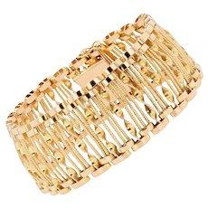 French 1950s 18 Karat Yellow Gold Wire and Twist Openwork Bracelet