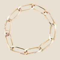 French 1960s 18 Karat Rose Gold Twisted Figaro Link Bracelet