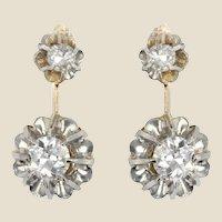 French 19th Century Diamonds 18 Karat Yellow Gold Platinum Dangle Earrings
