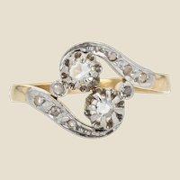 French 1910s Diamond 18 Karat Yellow Gold Platinum You and Me Ring