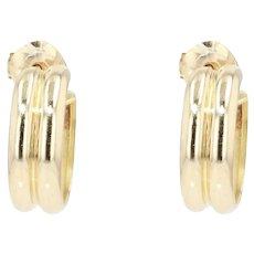 Modern 18 Karat Yellow Gold Half Hoop Earrings