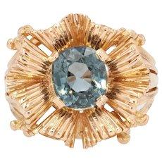 French 1960s Natural Spinel Cushion 18 Karat Rose Gold Retro Ring