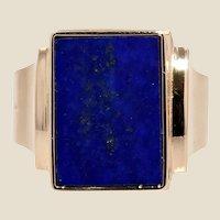 French 1960s Lapis Lazuli 18 Karat Yellow Gold Signet Ring