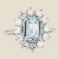 French 1960s Aquamarine Diamond 18 Karat White Gold Daisy Ring