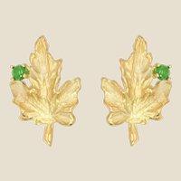 1960s Emerald 18 Karat Yellow Gold Vine Leaves Earrings