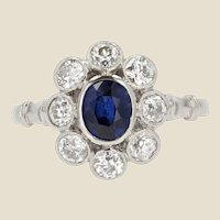 20th Century Sapphire Diamonds 18 Karat White Gold Daisy Ring
