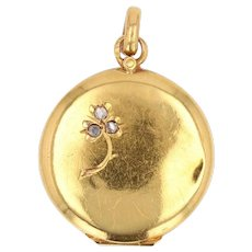 French 1900s Diamonds 18 Karat Yellow Gold Medallion