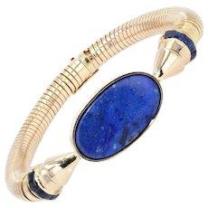 1940s Lapis Lazuli Sapphire 18 Karat Yellow Gold Tubogas Bracelet