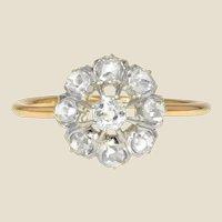 French 19th Century Diamonds 18 Karat Yellow Gold Daisy Ring