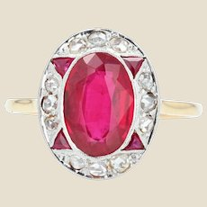 French 1925s Art Deco Diamonds Verneuil Ruby 18 Karat Yellow Gold Ring