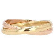 Modern 18 Karat Yellow Rose Gold Interlaced Rings