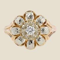1955s Diamond 18 Karat Yellow Gold Flower Ring