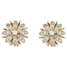 1960s Diamonds 18 Karat Yellow White Gold Flower Clip Earrings