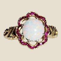 1925 Opal Calibrated Ruby 18 Karat Yellow Gold Ring