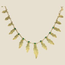 French 18 Karat Yellow Gold Emerald Feather Necklace