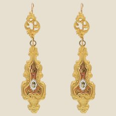 20th Century Enamel 18 Karat Yellow Gold Dangle Earrings