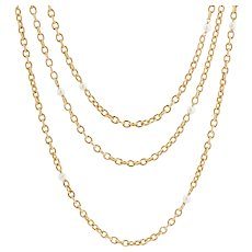 French 19th Century 18 Karat Yellow Gold Natural Pearl Long Chain Necklace