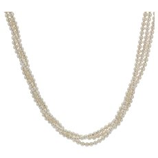 Antique 18 Karat Yellow Gold Clasp Three Row Cultured Pearl Necklace