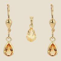 Modern Citrine 18 Karat Yellow Gold Earrings and Pendant Set