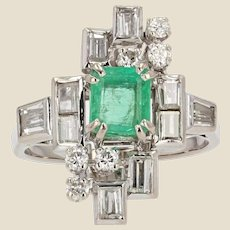 French 1970s Emerald Diamonds 18 Karat White Gold Ring
