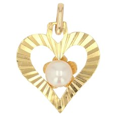 Modern Cultured Pearl 18 Karat Yellow Gold Heart Shape Pendant