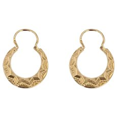 French 1950s 18 Karat Rose Gold Chiseled Creole Earrings