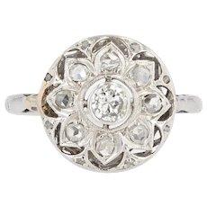 1925s Diamonds 18 Karat White Gold Round Openwork Ring