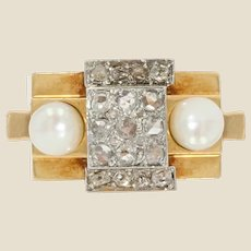 French 1940s Natural Pearl Diamonds 18 Karat Yellow Gold Tank Ring