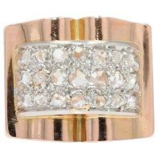 French 1940s Diamonds Pavement 18 Karat Rose Gold Tank Ring