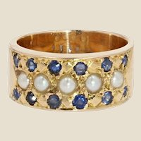 French 19th Century Sapphire Natural Pearl 18 Karat Yellow Gold Ring