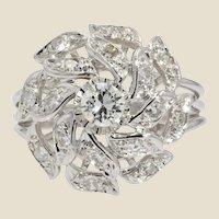 French 1970s Diamonds 18 Karat White Gold Retro Ring