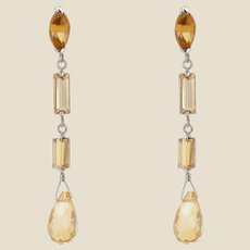 Baume Creation 8 Carat Citrine 18 Karat White Gold Dangling Earrings