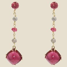 Baume Creation Tourmaline Spinel Diamonds 18 Karat Yellow Gold Dangle Earrings