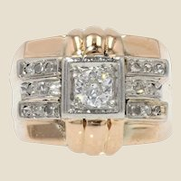 1950s Diamonds 18 Karat Rose Gold Tank Signet Ring