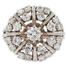 French 1950s 1,20 Carat Diamonds 18 Karat White Gold Retro Ring